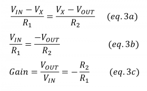 inverting opamp amplifier gain equation