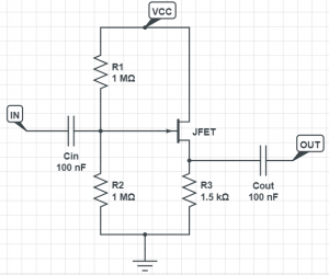 jfet buffer schematic circuit