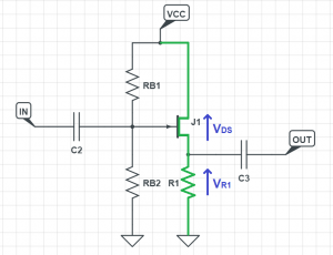 jfet common source circuit schematic