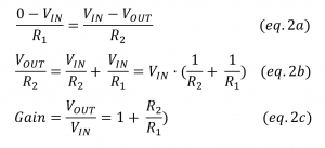 non inverting opamp amplifier gain equation