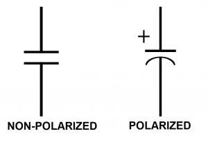 non polarized vs polarized capacitor symbol