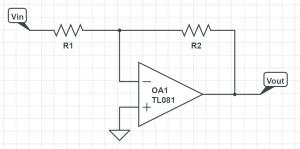opamp inverting amplifier complete schematic