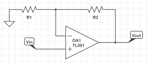 opamp non inverting amplifier effect pedal complete schematic