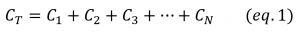 Parallel capacitors equivalent equation
