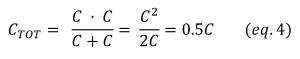 Two equal capacitor series equation