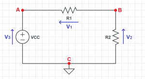 voltage drop arrow pointing example