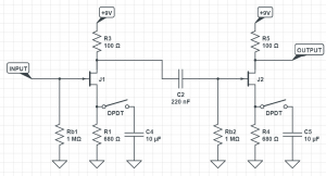 JFET gain stages in the Samurai Booster